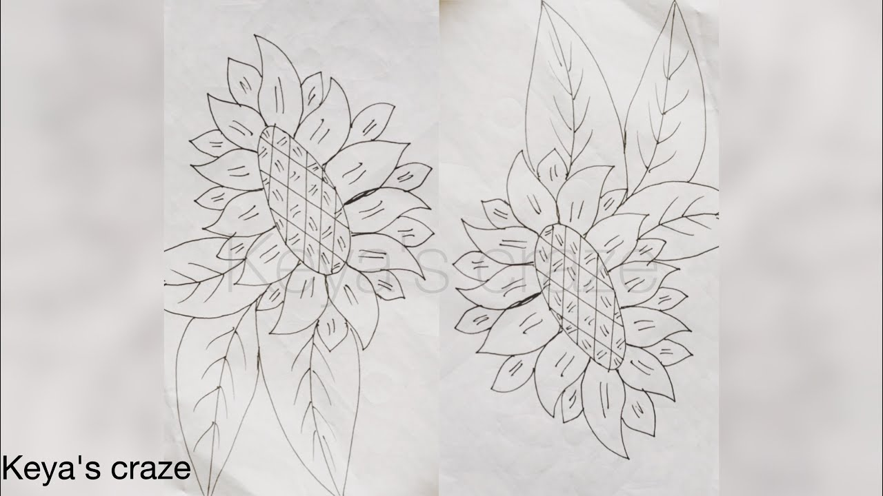 Sunflower Line Drawing : Sunflower drawing for hand embroidery beginners keyas craze