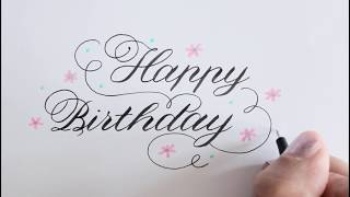calligraphy / how to write happy birthday in fancy / improve your handwriting