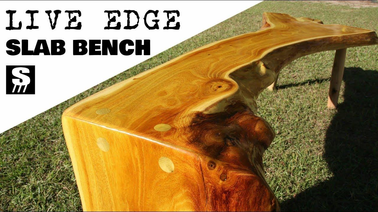 Live Edge Slab Bench Wood Furniture Youtube