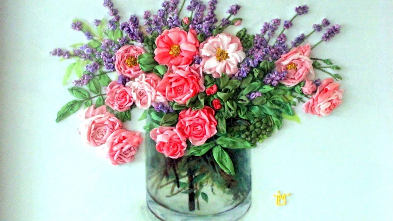 Roses art silk ribbon embroidery siuvinejimas