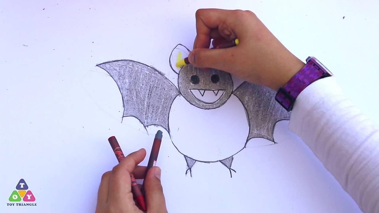 شاهد طريقة رسم الخفاش - رسمة و معلومة - تعلم الرسم للمبتدئين - حلقة 4 - مثلث الالعاب