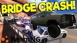 BIGGEST POLICE CRASH & BRIDGE COLLAPSE! - BeamNG Gameplay & Crashes - Bridge Mod