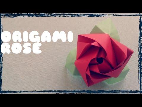 DIY - Cách gấp hoa hồng bằng giấy - Origami