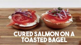 Cured Salmon with Lemon and Orange Zest on a Toasted Bagel
