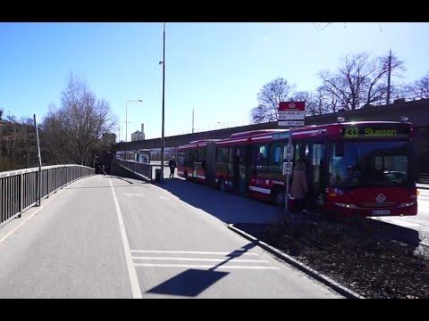 Sweden, Stockholm, walking from Viking Line ferry terminal to bus stop  Londonviadukten