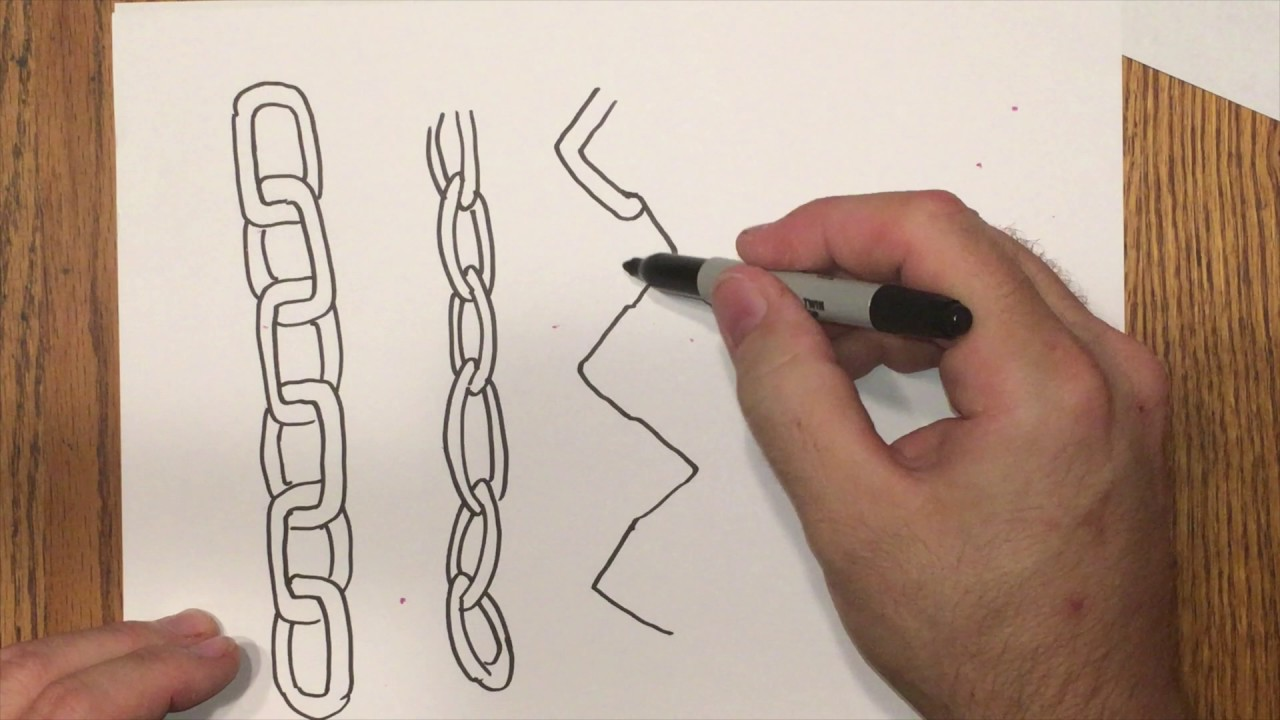 How to draw 3d chain quick easy anyone can do this maybe