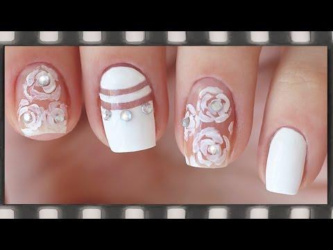 Новый модный лунный маникюр и негативное пространство. Розы на ногтях |  Negative Space Nail Art
