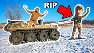 SNOWBOARDING Behind the NEW TANK at My FARM!!! (Bad Idea)