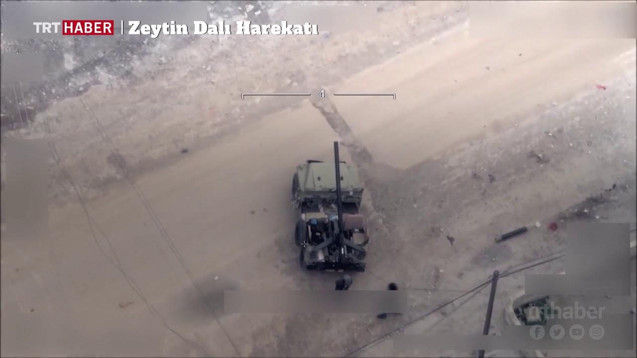 Teröristlerin Afrin'deki saldırılarını Bayraktar TB2 SİHA'lar görüntüledi