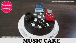 music theme birthday cake with ipod,headphones,mic,laptop,music notes decorating tutorial classes