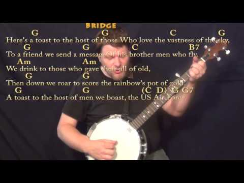 U.S. Air Force Song - Banjo Cover Lesson in C with Chords/Lyrics