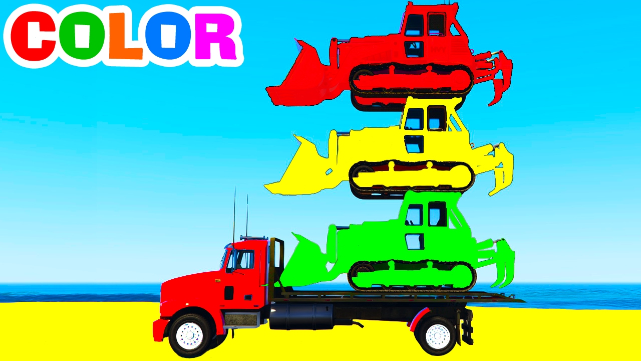 LEARN COLORS & Learn Numbers w BULLDOZER on Truck Spiderman Cars Cartoon for Kids Learning Video