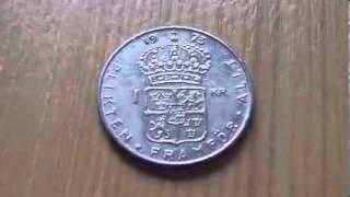 1 Swedish krona coin   Plikten Framför Allt