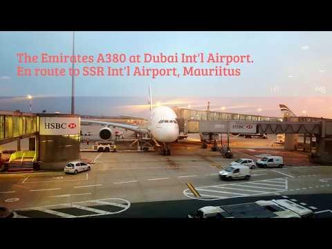Inflight Takeoff (DXB) & Landing (MRU) A380 Footage - EK 703