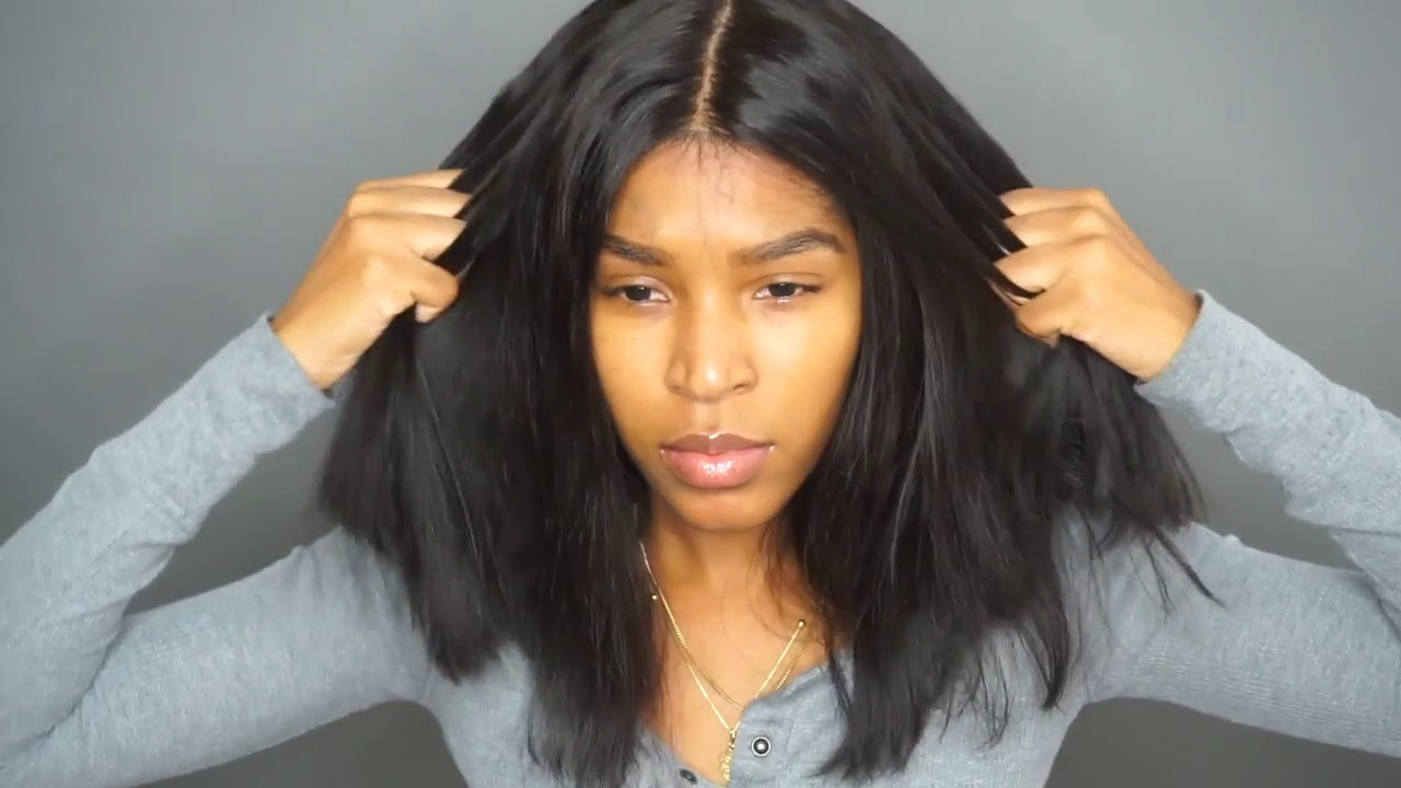 How I Cut Style My Lace Front Wig To A Bob Lakia Star Youtube