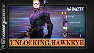 Marvel Strike Force | UNLOCKING HAWKEYE | Overview & Gameplay | Awesome Blind Effect |