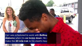 Man who walked 20 miles to work rewarded with boss