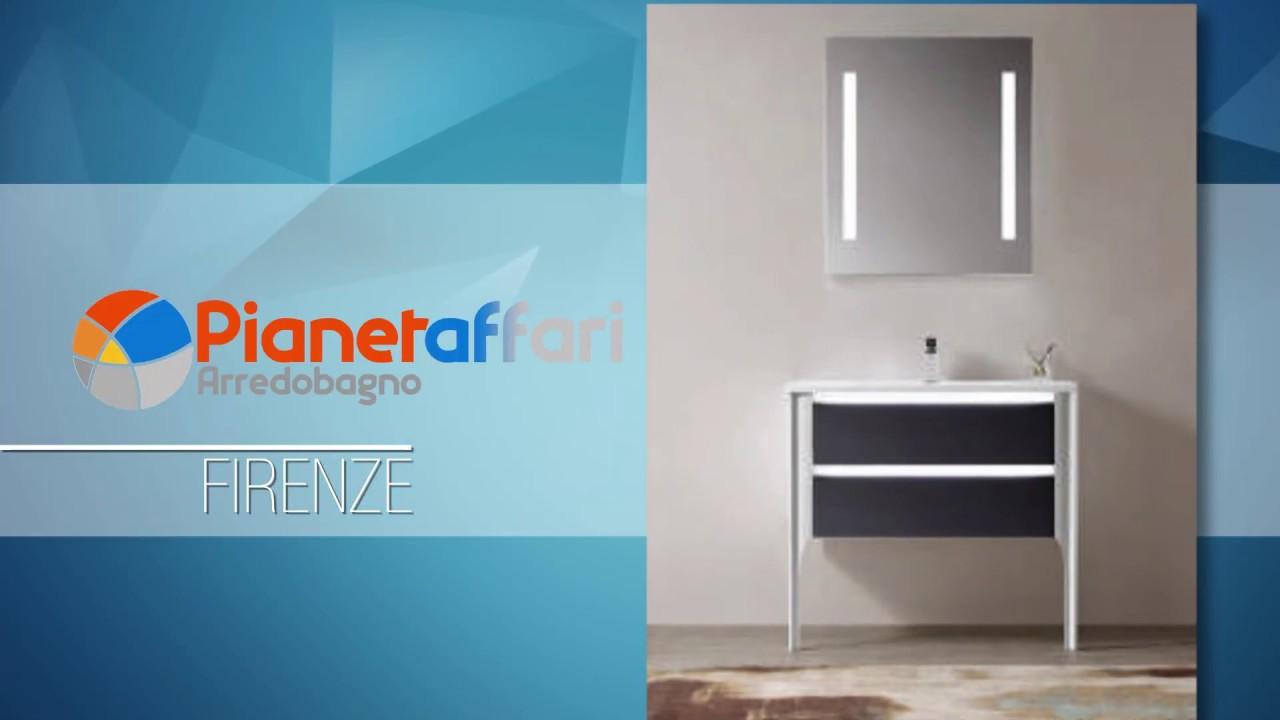 Mobile Da Bagno Design.Mobile Da Bagno A Terra Cm 90 Nero Vetrificato Specchio Led Touch Serie Firenze