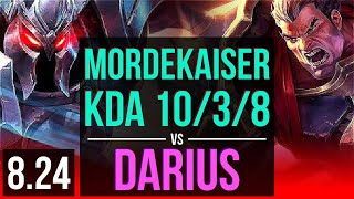 MORDEKAISER vs DARIUS (TOP) | 3 early solo kills, KDA 10/3/8 | TR Diamond | v8.24