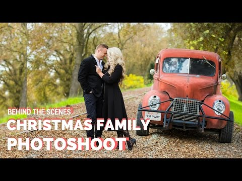 Christmas Family Photoshoot with props Fireplace and Vintage Car, Christmas photoshoot ideas