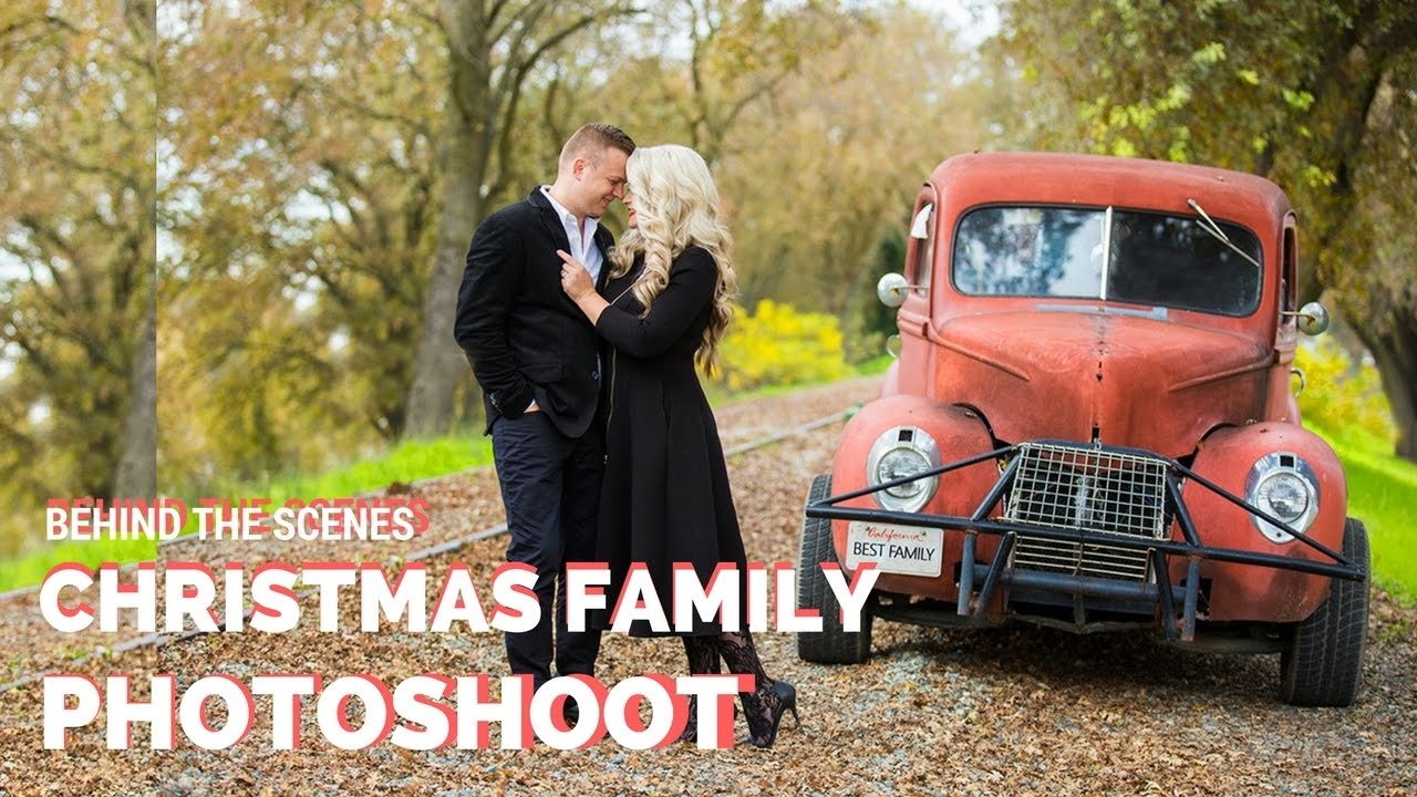 Christmas Family Photoshoot With Props Fireplace And Vintage Car Ideas