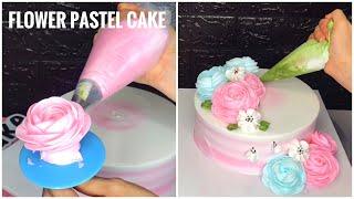 Make flower pastel cake | Làm bánh kem hoa màu pastel