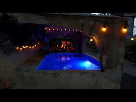 Building a concrete hot tub grotto