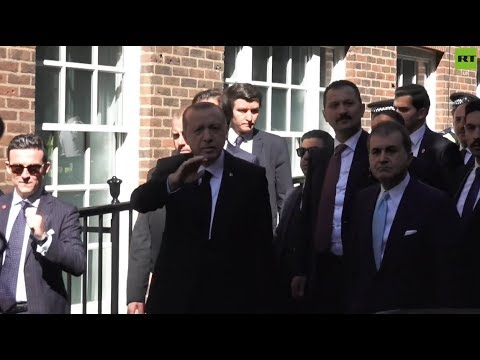 Erdogan greeted in UK with protest