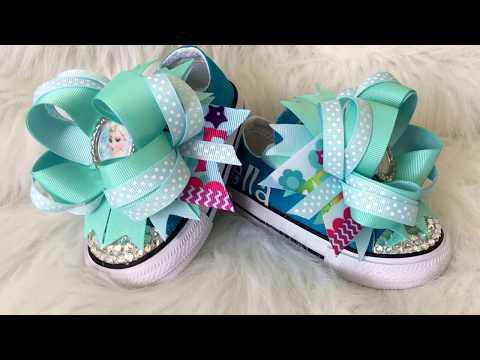 bfad2b3d83e9 Disney Frozen Elsa Bling Converse - Bling Shoes - Boutique Style Hairbows  ...