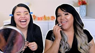 My Mom Follows My Makeup Routine! LOL