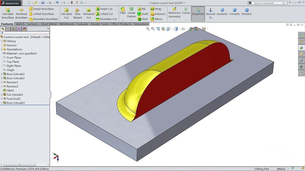 How To Make Custom Forming Tool Louvers In Solidworks