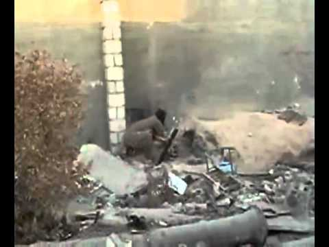 FAIL- Afghan soldier tests the rocket launcher and... BOOM