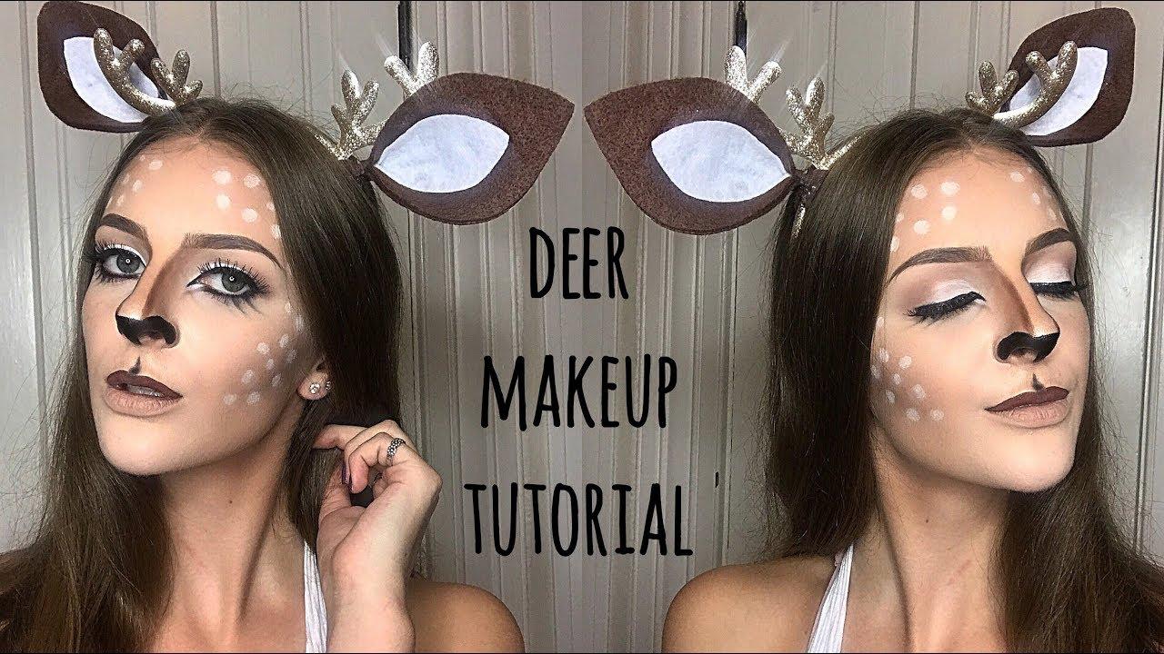 DEER MAKEUP TUTORIAL + DIY EARS - YouTube