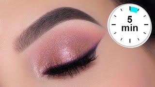 5 MINUTE Soft Glam Eye Makeup Tutorial | Rose Gold Eye Look