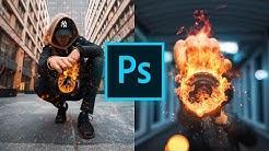 Wie man COOLE FEUER EFFEKTE in Photoshop einfügt 🔥 (einfach & realistisch)