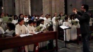 El Cor de Pueri Cantores a la Catedra d'Urgell, interpretant el Càntic de Moisès