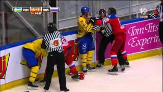 SWE RUS Fight in Euro Hockey Tour, 21st April 2016