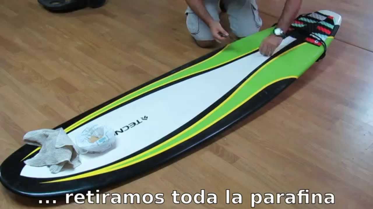 Cómo quitar la parafina de la tabla de surf con pan rallado - YouTube