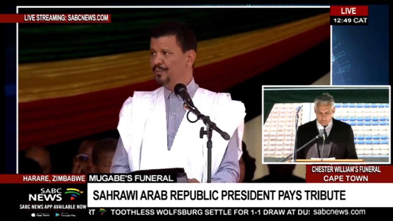 Saharawi president Brahim Ghali pays tribute to Mugabe