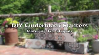 How-To Transform Cheap Cinderblocks into Fabulous Flower Planters Using A Tile Stencil