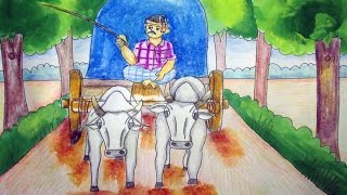 Bullock Cart Drawing Color | Garur Gari on village road |