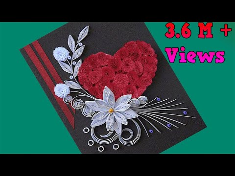 How to make Beautiful Flower with Heart Design Greeting Card | Paper Quilling Art