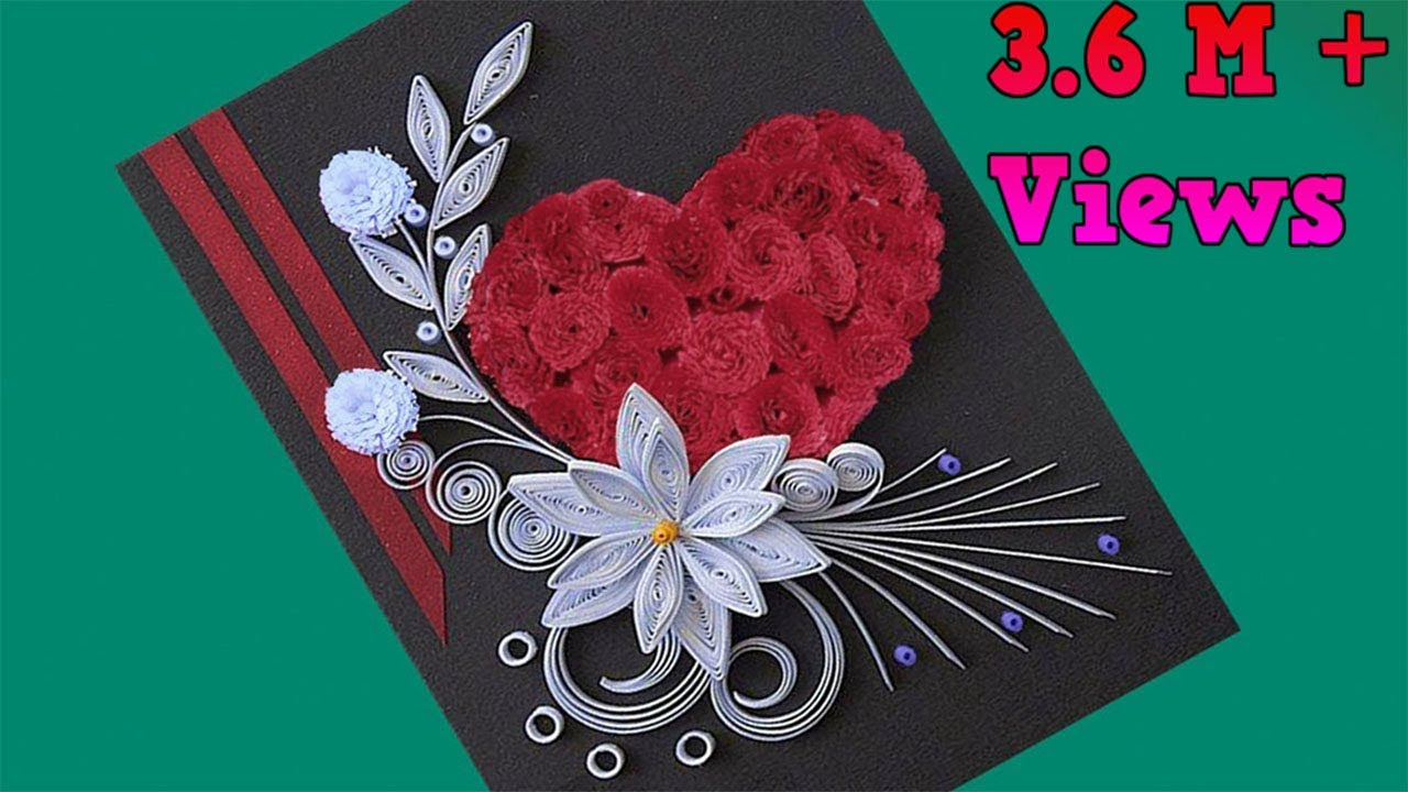 How To Make Beautiful Flower With Heart Design Greeting Card Paper Quilling Art
