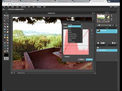 Pixlr Online picture editor using Menus and layers