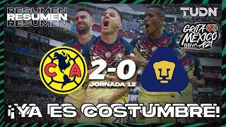 Resumen y goles   América 20 Pumas   Grita México BBVA AP2021  J12   TUDN
