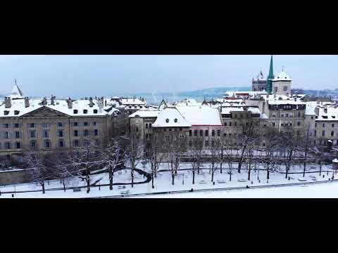 Geneva Under the Snow 2018 Drone Aerial Footage