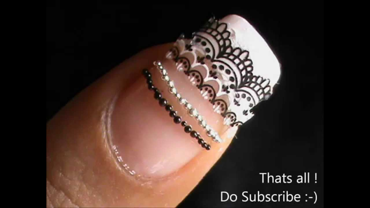 Lace Nail Art Designs (Using Stickers)