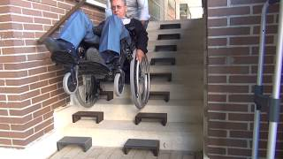 """Walk et Roll Stairs. Low cost """"stairlift"""" for climbing wheelchair, trolleys,..."""