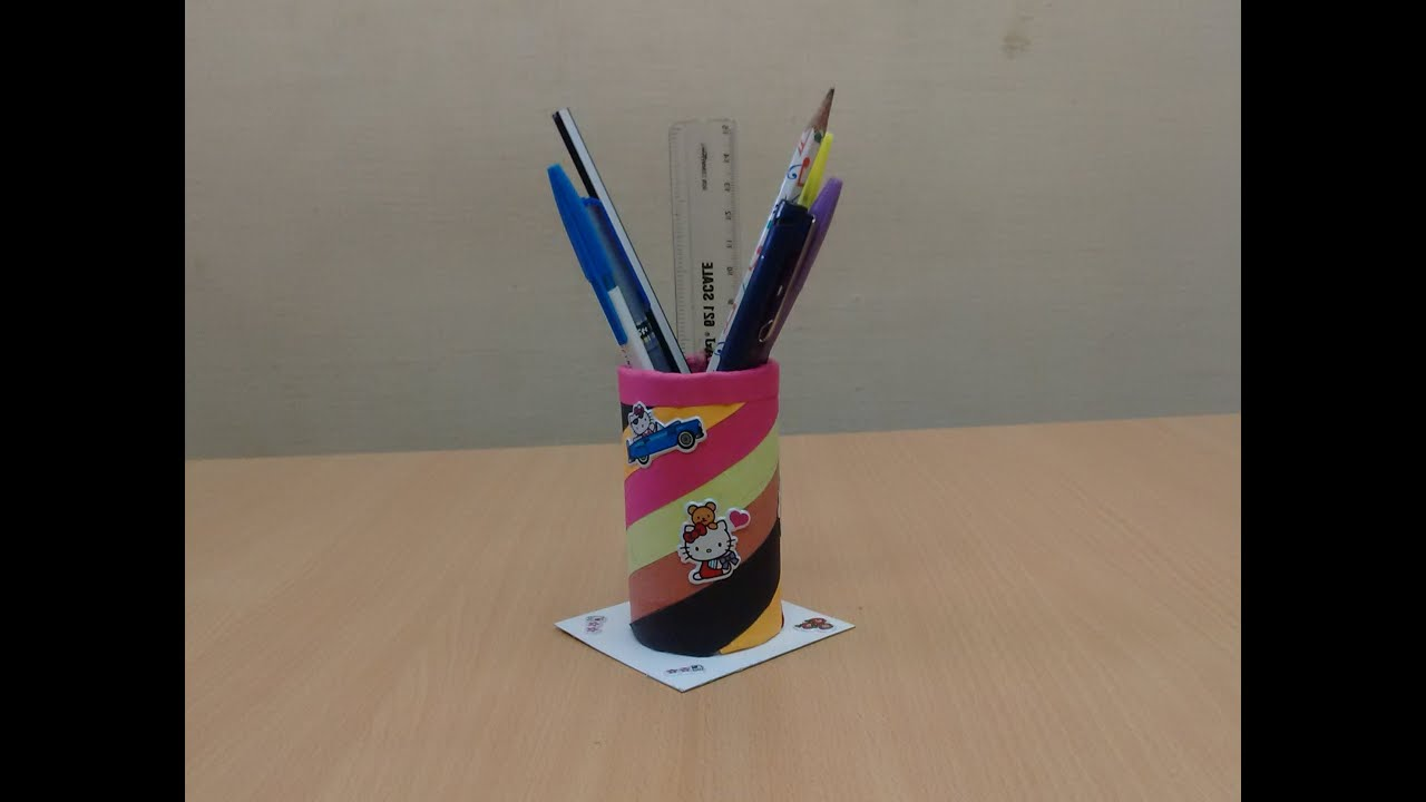 How to make a diy pen stand from waste materials recycled for Waste material ideas