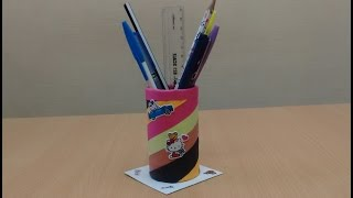 How to Make a DIY Pen Stand from Waste Materials: Recycled Craft Ideas